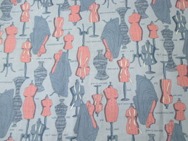 "Sewing Fabric Blue Dress Form Bust 44"" wide x 3 yards Dressform - $18.99"