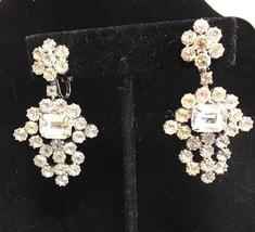 Vintage Weiss Rhinestone Drop Clip Earrings Silvertone Ornate Rare - $77.31