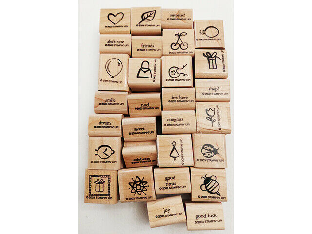 Stampin' Up! Good Times Wood Mounted Rubber Stamps, Set of 28