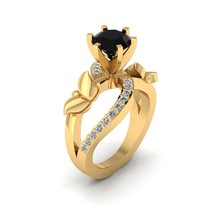 Classic Black and White Diamond Butterfly Ring In Solid 14k Yellow Gold Jewelry - $1,159.99