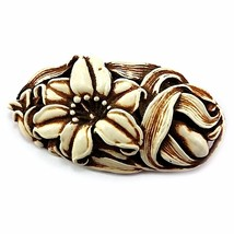 Carved Flower Brooch Vintage Plastic Pin Orange Brown Off White p583 - $10.78
