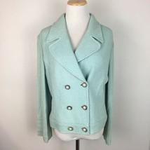 St. John Collection by Marie Gray Women's Light Blue Knit Blazer Jacket Medium - $108.90