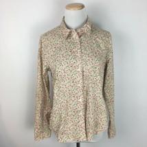 Talbots Women's Yellow Floral Cream Button Front Shirt Size 12P Petites  - $16.82