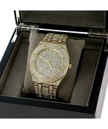 Men Hip Hop Fully Iced Out Gold Plated Rapper;s Lab Diamond Watch NY London - $58.79