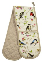 BIRD BRANCHES POLKA DOT 100% COTTON TWILL DOUBLE OVEN GLOVE 17CM X 90CM - $12.46