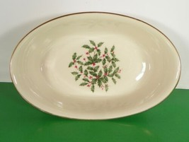 Lenox Holiday Presidential Special Oval Serving Bowl Holly Berry - $44.50