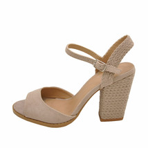 Qupid LOST 55AX Taupe Women's Open Toe Braided Block Heels - $38.95