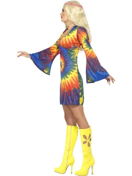 Smiffys 1960's Tie Dye Hippie 60s Culture Adult Womens Halloween Costume 20741
