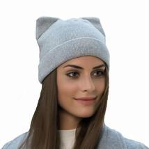 Women Autumn Winter Knitted Hats Cute Kitty Beanie Hat Cat's Ear Cap - ₨1,107.12 INR