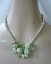 Vintage Plastic bead Fruit Necklace Pastel Green White collar Fruits and... - $19.79