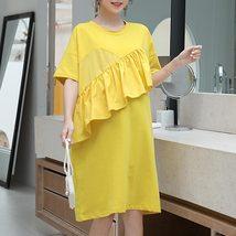 Maternity Dress Solid Color Ruffled Short Sleeve Fashion Knee Length Dress image 3