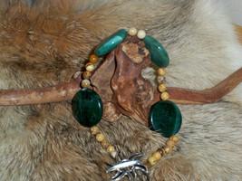 Green Jasper Bracelet with Picture Jasper Beads Natural Healing Gemstone - $5.94