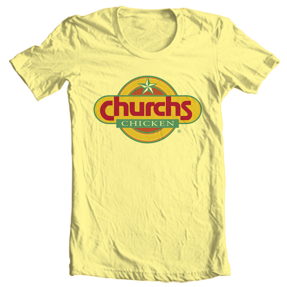 Churchs Fried Chicken T-shirt retro vintage fast food 100% cotton yellow