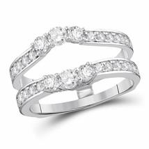 14kt White Gold Womens Round Diamond Wrap Ring Guard Enhancer 1 Cttw - $1,312.70