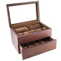 Caddy Bay Collection Vintage Wood Clear Glass Top Watch Box Display Stor... - $76.94