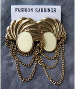 "Gold Plated Post Vintage Fashion 2"" wide x 2 1/2"" Dangle Earrings Made i... - $3.99"