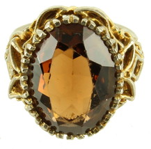 VINTAGE FILIGREE GOLD TONE LARGE OVAL FAUX TOPAZ CHUNKY RING SIZE 8.75 - $72.89