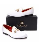 FERUCCI white custom-made Velvet Slippers loafers with gold   tassel - $149.99+