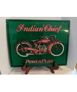 """VINTAGE TIN ADVERTISING SIGN - INDIAN CHIEF POWERPLUS MOTORCYCLE 10""""X14"""" - $34.65"""