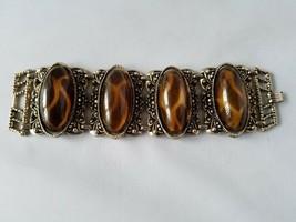 Vintage Fashion Jewelry Set Gold Tone Amber Tortoise Shell Bracelet With... - $19.65