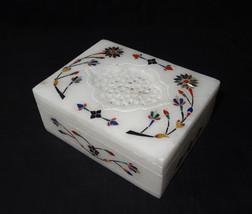 Marble Rectangle Jewelry Trinket Box Filigree Handmade Home Decor Art Gifts - $35.52