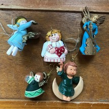 Estate Lot of Small Plastic & Carved Resin ANGEL Christmas Tree Ornaments – one  image 1