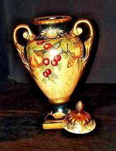 Ceramic hand paintedd Vase with Lid AA18-1265 VintageDouble Handled image 3