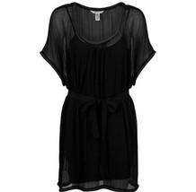 Diane Von Furstenberg DVF Black SOL Silk Tunic Mini Black Dress Sz 4 - $118.65