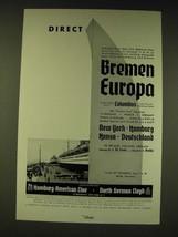 1936 Hamburg-American Line North German Lloyd Cruise Ad - Direct Bremen ... - $14.99