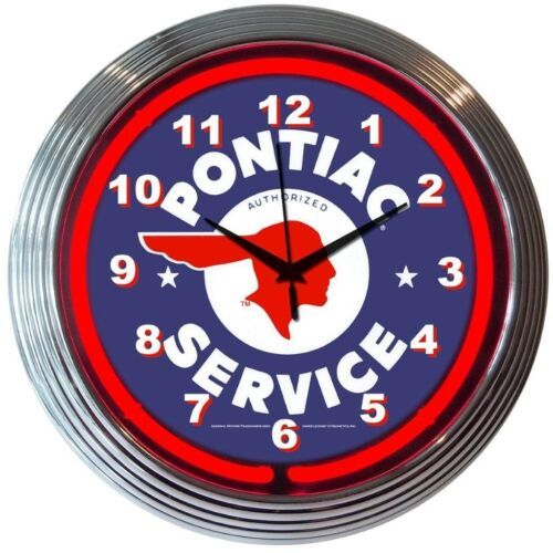 "Primary image for Gm Pontiac Authorized Service Neon Clock 15""x15"""