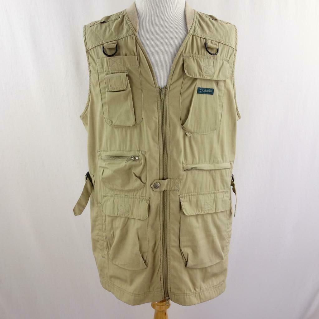 Primary image for Vintage Columbia Sportswear Long Cargo Fishing Outdoor 9 Pocket Vest Mens Sz L