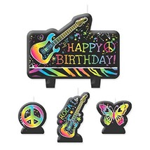 Neon Birthday Zebra Print Butterfly Peace Guitar Party Decoration Cake C... - $10.17