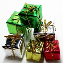 6 x Foil Wrapped Christmas Gift #29 Present Dollhouse Miniatures by Beth - $4.61