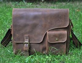 """Men's Genuine Leather Cowhide Vintage Brown 12"""" Satchel Shoulder Messeng... - $62.85"""