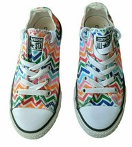 CONVERSE All Star Low Tops Zig Zag Rainbow Chevron Sneaker Shoes 13 Child - $19.79