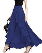 GIKING Women Ruffle Pants Full Length Split High Waist Retro Maxi Long Skirt Blu - $34.76