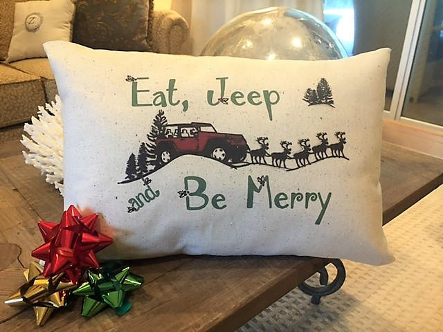 Jeep Christmas Pillow, 12x18, lumbar, eat jeep and be merry, rustic, vintage, je for sale  USA