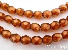 25 6mm Czech Glass Fire Polished Beads: Halo - Sandalwood - $2.24