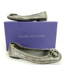 Stuart Weitzman Tulip Bow Pewter Nappa Ballet Flats Women's Sz 7.5 - $69.99