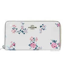 Coach Patent Leather With Cross-Stitch Floral Print Accordion Zip Wallet - $113.85