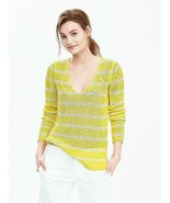 Banana Republic Chunky Stripe Linen Vee Sweater, 100% Linen, Yellow, Siz... - $88.00