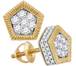 10k Yellow Gold Round Diamond Polygon Rope Frame Flower Cluster Earrings 3/4 - $629.00