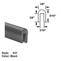 """Neoprene Rubber U-Channel Push-On Trim - Ht. 9/16"""" x Wd. 3/8"""" - Black - 25 ft - $112.61"""
