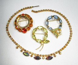Estate Vintage Rhinestone Necklace & Brooches Lot C1995 - $38.61