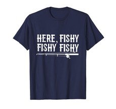 Funny Fisherman Gift Here Fishy Trout Father's Day T-Shirt Men - $19.95+