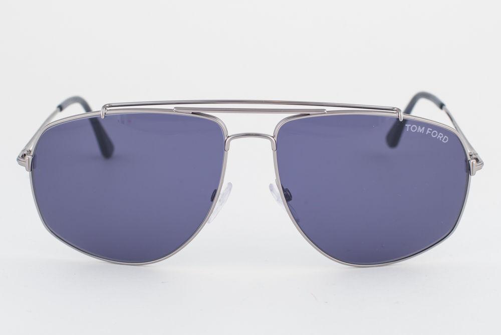 Tom Ford Georges Shiny Light Ruthenium / Blue Sunglasses TF496 14V