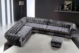 VIG Divani Casa Metropolitan Gray Fabric Tufted Crystals Sectional Sofa Ottoman