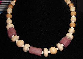 VTG Wood and Clay Beaded Choker Necklace - $9.90