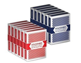 12 Decks 6 Red/6 Blue Wide-Size Regular Index Playing Cards Set Classic ... - $17.12
