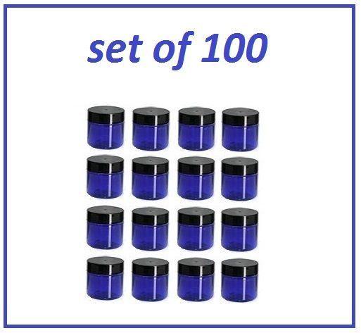 100 pc 1 oz Cobalt Blue Plastic Jars with Black Lids